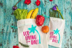 Eco Living Bali bags with fruit and veges