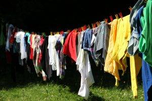 Coloured clothes hanging on a line