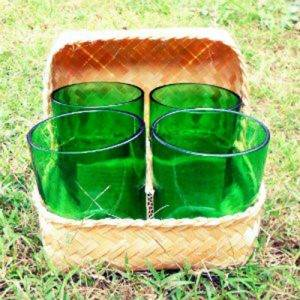 Recycled glasses in basket