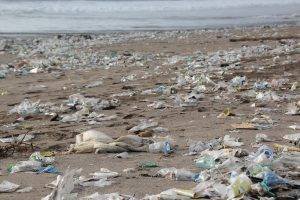Beach scene covered in plastic trash