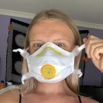 wearing a dust mask