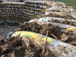 Ecobricks & cob mortar wall