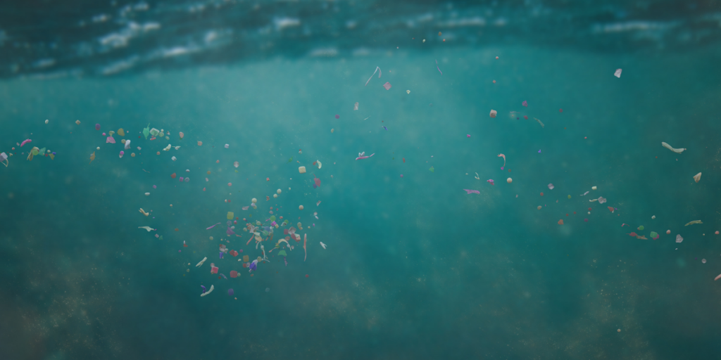 microplastics floating in water