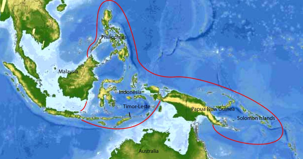 Map showing Indonesia's location in the coral triangle