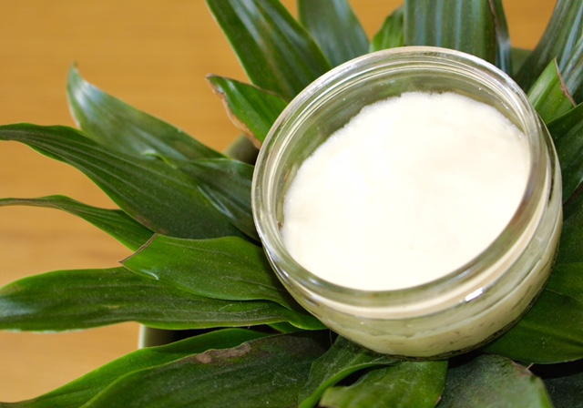 natural deodorant in glass container