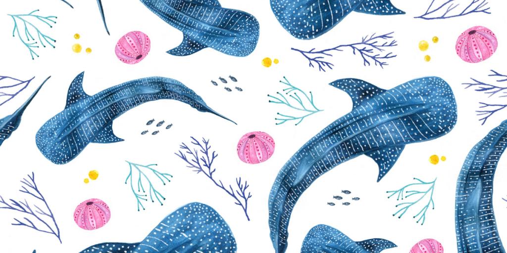 Ocean art for our masks - whale shark design