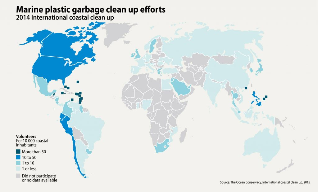 ocean plastic cleanup efforts mapped