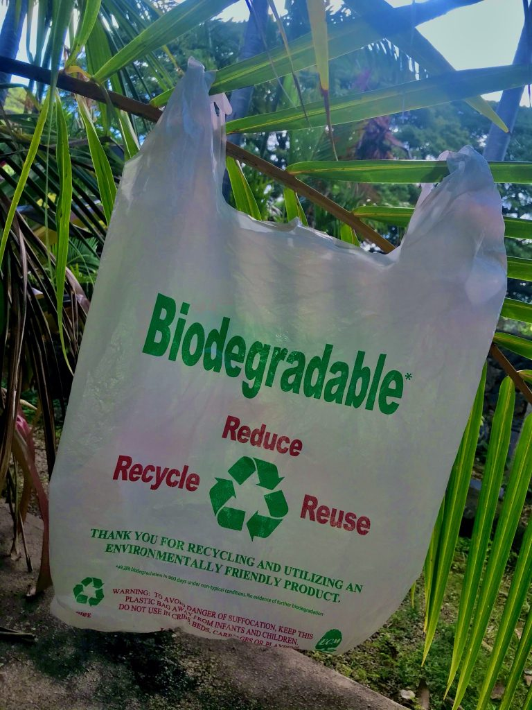 bioplastic bag with biodegradable written on it
