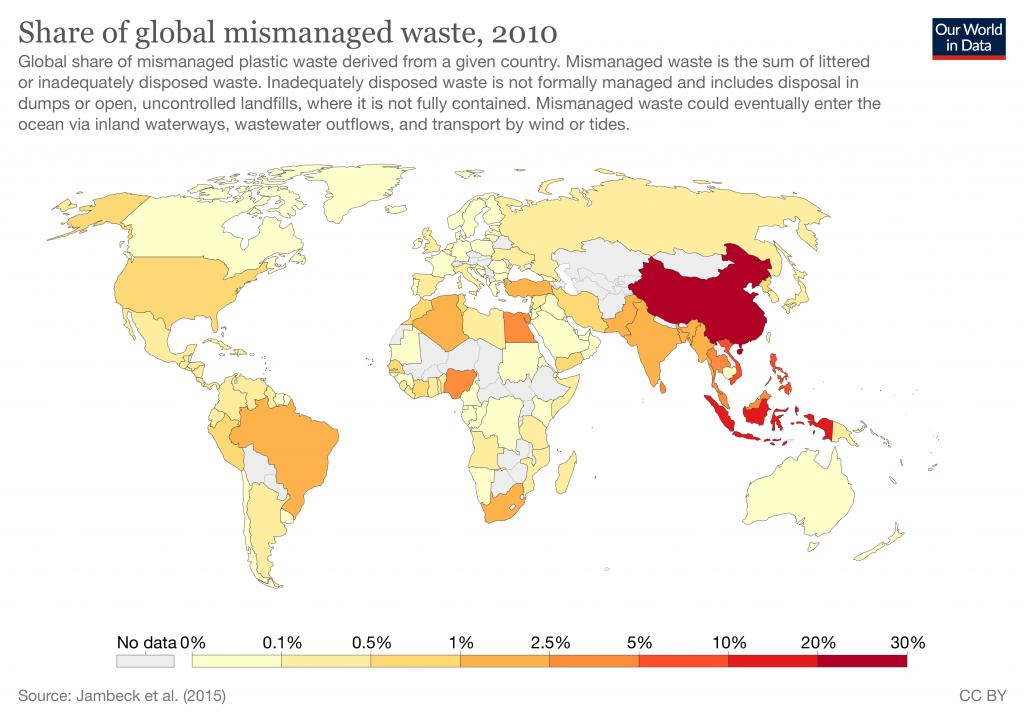 mismanaged plastic waste mapped