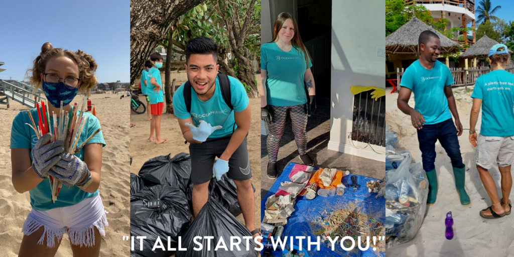 """A range of images of people doing beach cleanups - """"It All Starts With You!"""""""