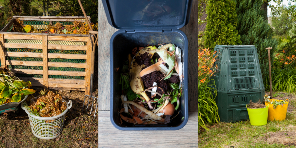 3 different composting bins